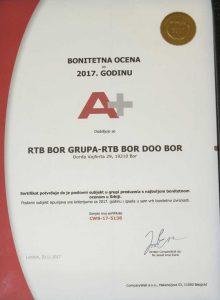 РТБ у групи српских предузећа с најбољим бонитетом у 2017.